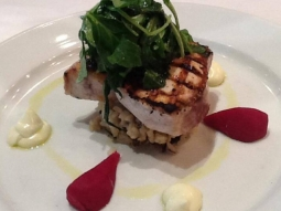 Grilled swordfish over wild rice, topped with pickled beets, and truffled goat cheese mousseline #todayslunchfeature #jacksonssteakhouse #downtownpcola #lunchtime #thursday #yummy #jacksonsrestaurant