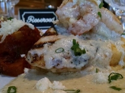 It is a gorgeous day to come enjoy your lunch with us here at Jackson's. We are open 11-2 serving the delicious lunch features chef has prepared. Our Catch of the Day is grilled Mahi Mahi over cheddar grits and topped with sauteed shrimp, Brie cream sauce and served alongside ratatouille. The plate is garnished with Romano cheese and green onions.  #DowntownPensacola #jacksonsrestaurant #joinus #SoGo