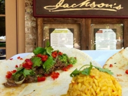 It's a beautiful day in #downtownpensacola & our Chef has prepared a delicious business feature this morning:  Shredded prime rib soft tacos,  sautéed onions, roasted poblano salsa, Caribbean rice, with saffron, onions, peppers, chives, and country ham.  #jacksonsrestaurant #Visit Pensacola #VISIT FLORIDA