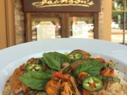 Good morning! It's a perfect day to come join us for lunch! Chef has prepared a delicious business feature for you're enjoyment:  Thai chicken curry, jasmine rice, sautéed peppers, jalapeños, & fresh basil.  #JacksonsRestaurant #VisitPensacola   #VISITFLORIDA