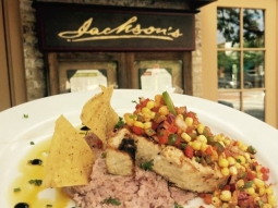Good morning! Come on over to #JacksonsRestaurant and join us for lunch!  Chef has prepared a delicious catch of the day:  Grilled swordfish, blue corn grits, southwest corn salsa, & a balsamic drizzle.  #downtownpensacola #VisitPensacola #VISITFLORIDA